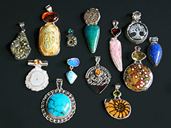 Hand-fabricated sterling silver pendants set with semi-precious stones