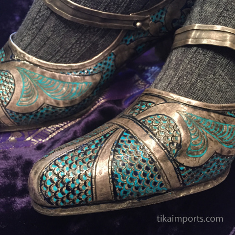 antique silver enameled shoes being modeled by one of our Tika girls