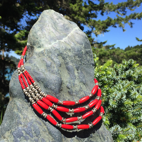 Red Multistrand Necklace featuring dyed bone and white brass spacer beads