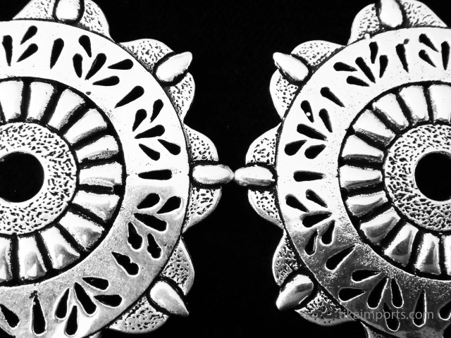 Kahlo Odyssia Brass Earrings with sterling silver post earwires - closeup detail