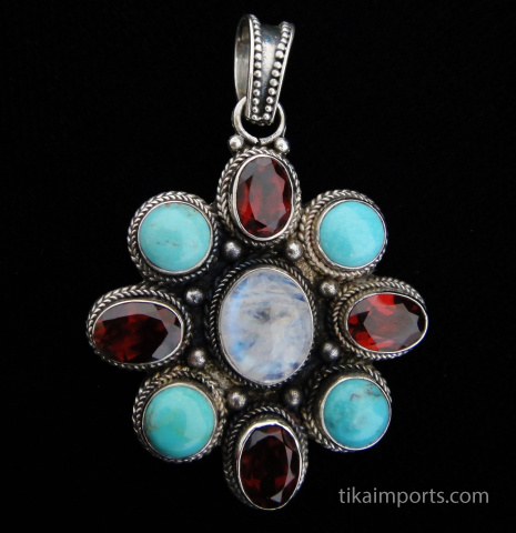 gem mandala silver pendant