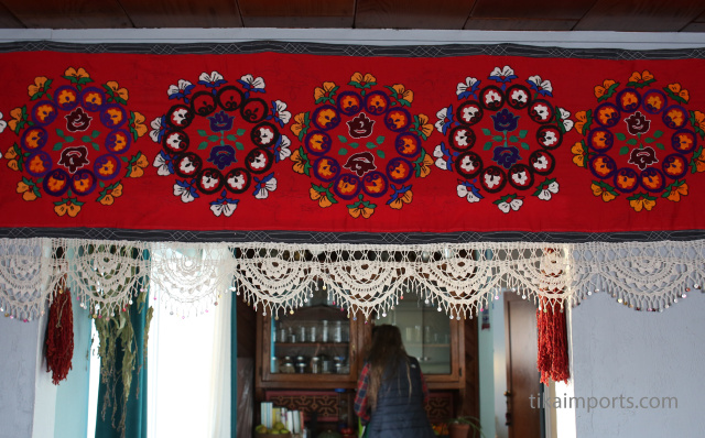 handmade Uzbeki suzani textile on display