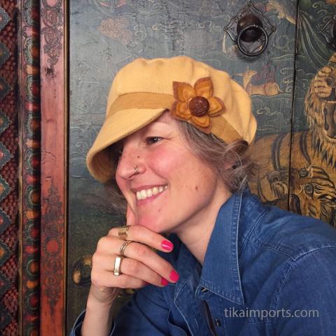 Owl ojime button as a unique accent on cute hat