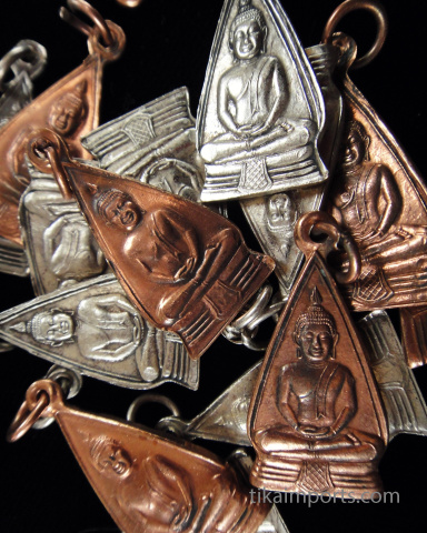 assorted Buddha Charms in copper and silver-tone brass