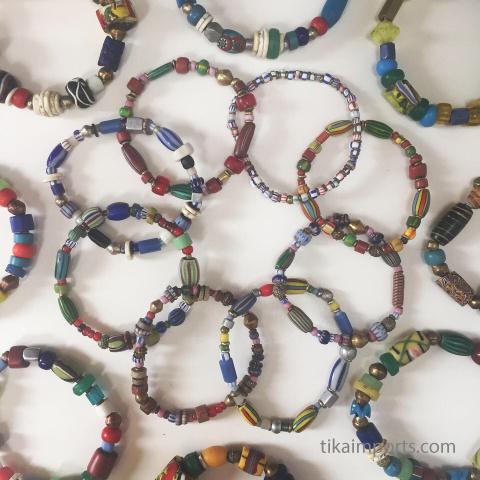 african trade bead stretch bracelets
