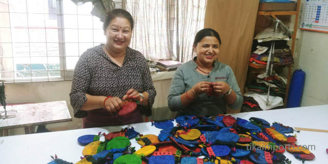 Nepalese Fair Trade partners making Silk Sari Drawstring Pouches