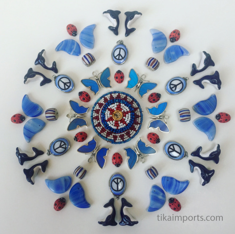 red white and blue mandala made from a variety of Tika treasures