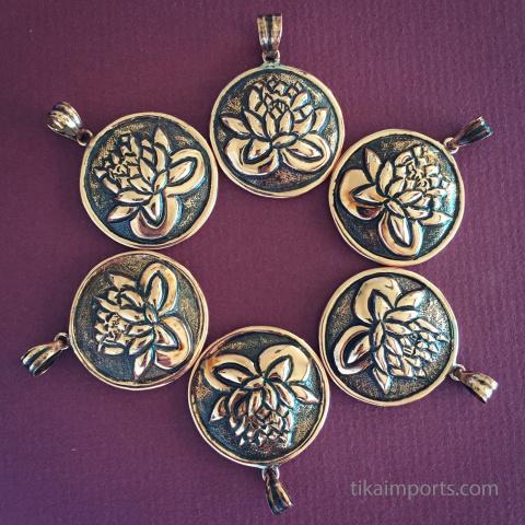 Lotus flower copper amulet pendants
