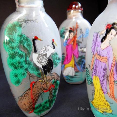 closeup of Handpainted Glass Bottle Ornaments