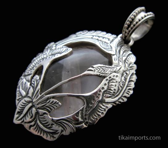 Secrecy garden sterling silver and rose quartz pendant