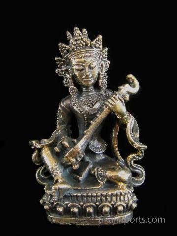 Saraswati brass deity statuette