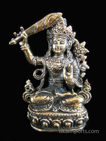 Manjushri brass deity statuette