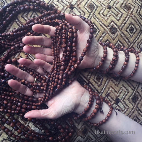Tiny, Small and Original Wood Skull Mala and stretch Mala Bracelets- available individually or in 10pc assortments