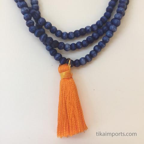 3mm rainbow bone bead necklaces and tiny tassels