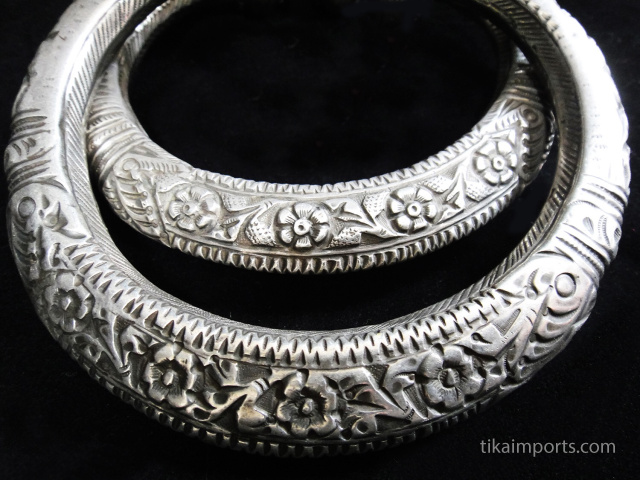 Pair of antique silver hollow-form ankle bangles