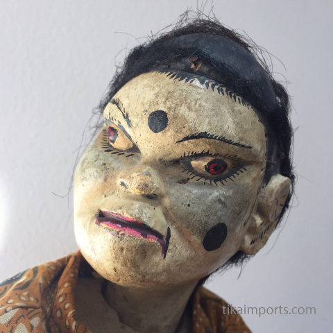 traditional wayang golek puppet Mboy Mban from the Mahabharata. Handmade in Java, Indonesia