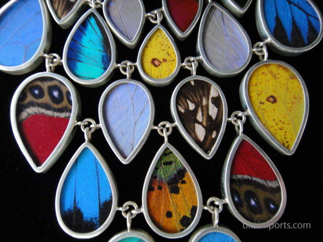 closeup of large multicolored shimmerwing necklace
