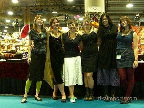 Tika girls posing for a picture at the LA gift show, 2009