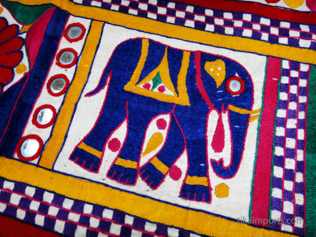 embroidered elephant detail on a vintage toran from Gujarat, India