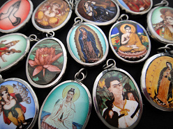 enameled deity and inspirational pendants