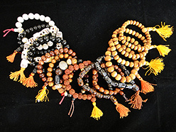 stretch mala bracelets in assorted materials