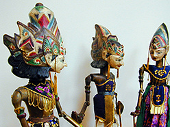 vintage traditional Wayang Golek stick-puppets from Java, Indonesia