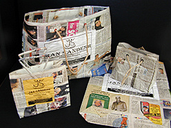recycled newspaper gift bags handmade in India