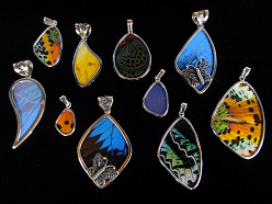 natural butterfly wing and sterling silver Shimmerwing pendants