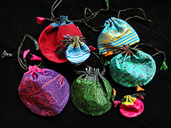 drawstring pouches in assorted materials handmade in Nepal