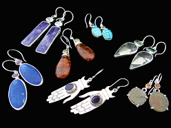 Hand-fabricated sterling silver earrings set with semi-precious stones