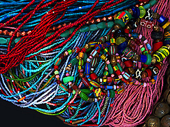 antique African trade bead strands and stretch bracelets