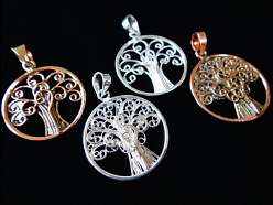 handmade filigree Tree of Life pendants in sterling silver and copper