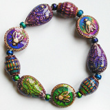 color changing Mirage beads on an elastic bracelet