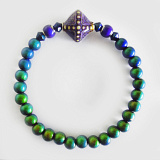 color-changing Micro Mirage Bead stretch bracelet with Aurora center bead