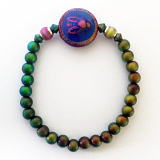 color-changing Micro Mirage Bead stretch bracelet with Bee-Lightful center bead
