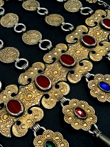 closeup detail of Antique Turkoman Yamut chest piece