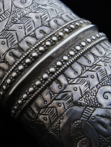 closeup view of single antique Afghani silver cuff
