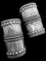Pair of Antique Afghani Silver Cuffs
