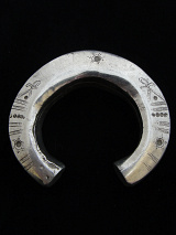 top view of single Antique Afghani Silver Hollow-form Cuff