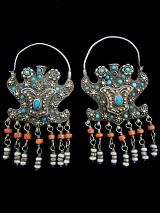 antique silver filigree earrings from Bukhara in Central Asia