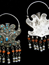 antique silver filigree earrings from Bukhara in Central Asia, showing front and back