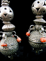 Antique Afghani silver bead earrings.