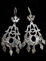 Antique Afghani silver Niello earrings.
