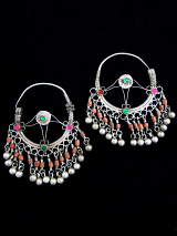 Antique Afghani Silver Earrings with glass and Coral
