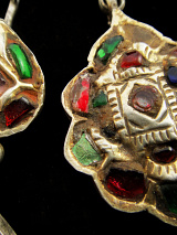 Antique Afghani Earrings with gilt silver hollow form segments