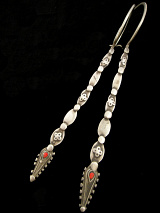 Afghani Silver Hoops with solid silver spike.