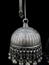 Antique Afghani Silver Hoops with dangling bells