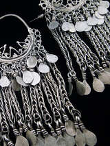 Antique Afghani Silver Filigree Hoops with silver chain showing front of earrings
