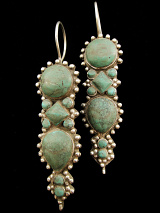 Afghani Silver Earrings with Turquoise