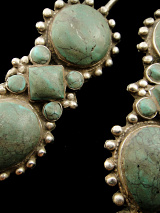 closeup of Afghani Silver Earrings with Turquoise